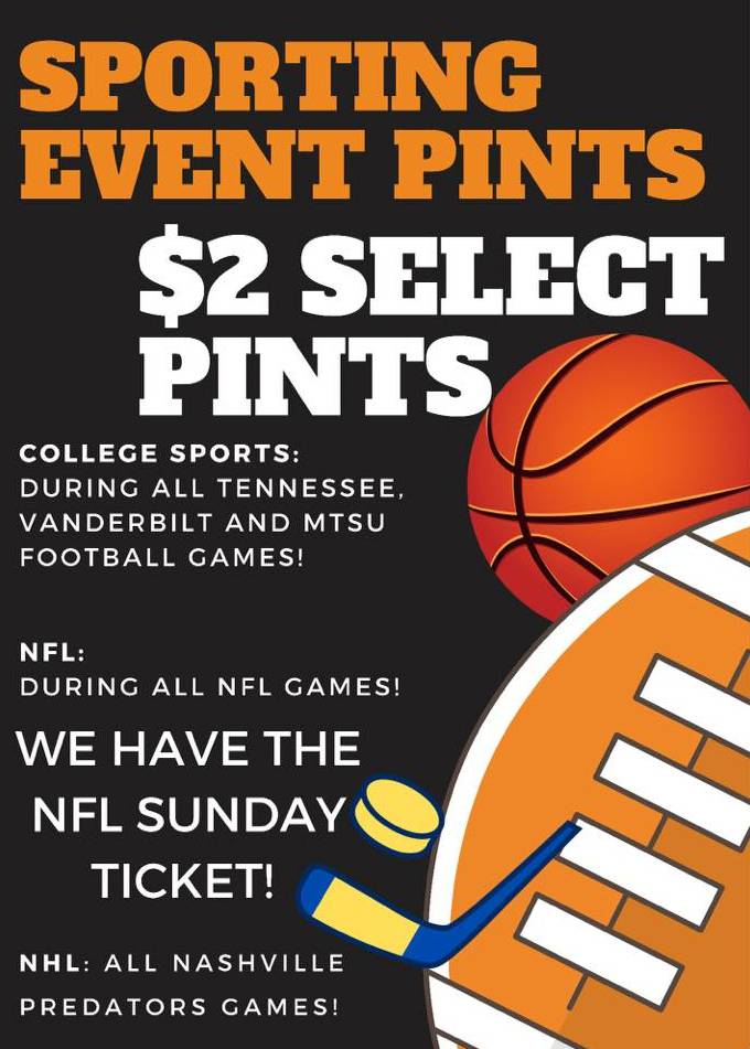 $2 Pints - Sporting Event Pints