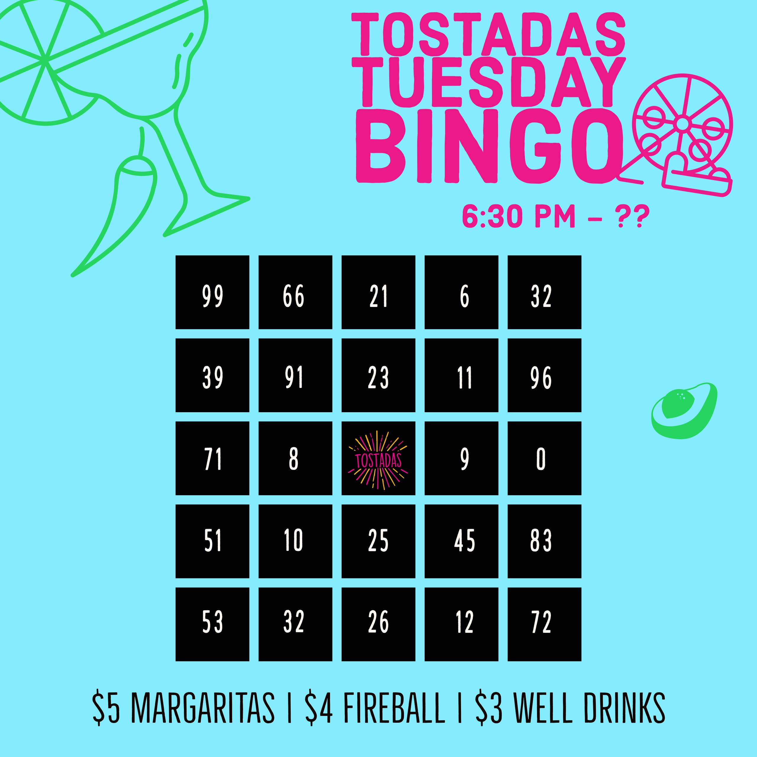 Tuesday Night Bingo at Tostadas!